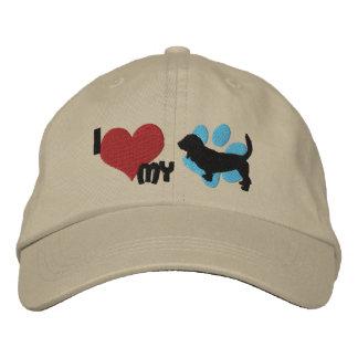 Amo mi gorra bordado Basset Hound Gorra De Beisbol Bordada