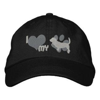 Amo mi gorra bordado Basset Hound (gris) Gorra De Béisbol