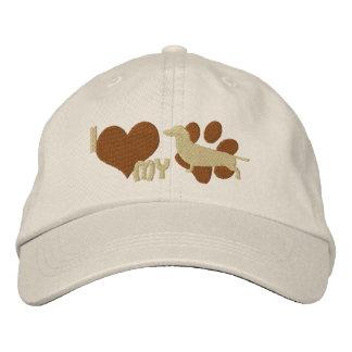 Amo mi gorra bordado Dachshund (Brown) Gorras De Béisbol Bordadas