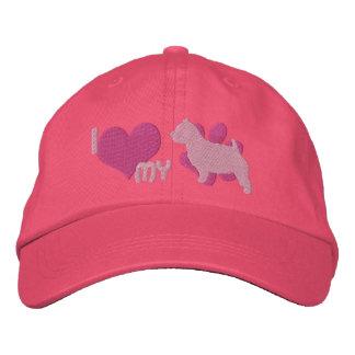 Amo mi gorra bordado de Norwich Terrier (el rosa) Gorras De Beisbol Bordadas