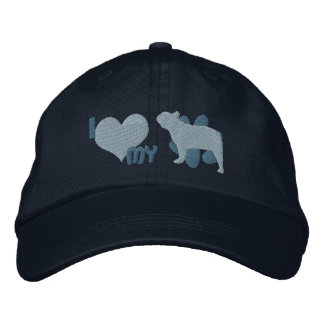 Amo mi gorra bordado del dogo francés (azul gorra bordada