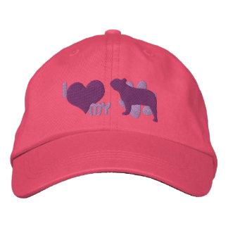 Amo mi gorra bordado del dogo francés (púrpura gorra bordada
