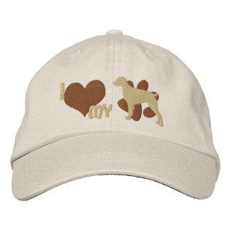 Amo mi gorra bordado del perro de aguas de Bretaña Gorros Bordados