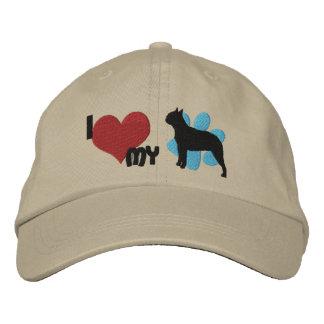 Amo mi gorra bordado Terrier de Boston Gorra De Béisbol