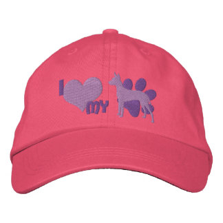 Amo mi gorra bordado Xoloitzcuintli (púrpura) Gorra Bordada