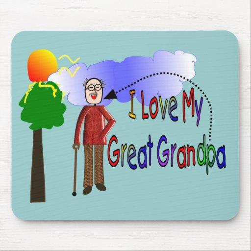 Amo mi gran DIBUJO de los NIÑOS del abuelo Alfombrillas De Ratones