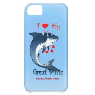 Amo mi gran iphone blanco 5 funda para iPhone 5C