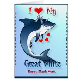Amo mi GRAN tarjeta del camisetas del tiburón BLAN