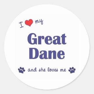 Amo mi great dane (el perro femenino) pegatina redonda