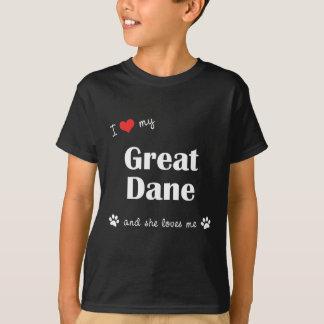 Amo mi great dane (el perro femenino) playera