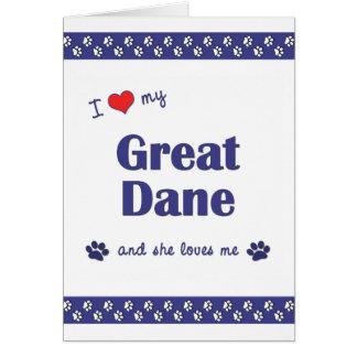 Amo mi great dane (el perro femenino) tarjeta pequeña