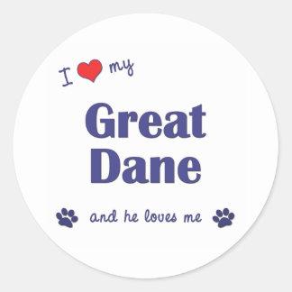 Amo mi great dane (el perro masculino) pegatinas redondas