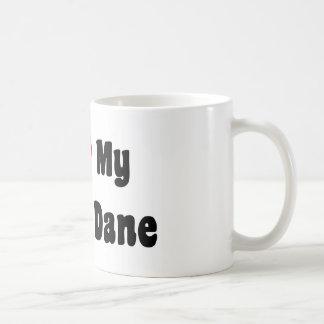 Amo mi great dane taza básica blanca