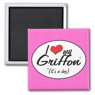Amo mi Griffon (es un perro) Imán Cuadrado