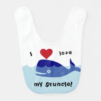¡Amo mi gruncle! diseño de la ballena Baberos De Bebé