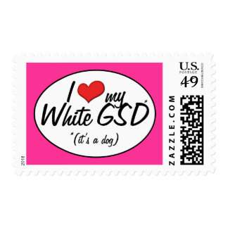 Amo mi GSD blanco (es un perro) Sellos