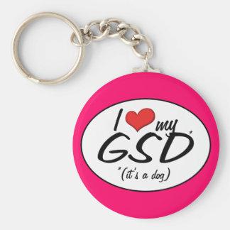 Amo mi GSD (es un perro) Llavero Redondo Tipo Pin