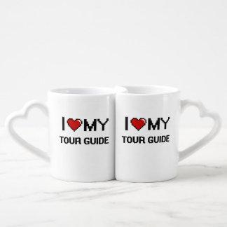 Amo mi guía turístico tazas para parejas