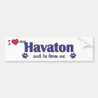Amo mi Havaton (el perro masculino) Pegatina De Parachoque