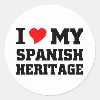 Amo mi herencia española pegatina redonda