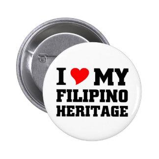 Amo mi herencia filipina pin redondo de 2 pulgadas