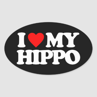 AMO MI HIPOPÓTAMO CALCOMANÍAS OVALES PERSONALIZADAS
