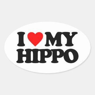 AMO MI HIPOPÓTAMO PEGATINA OVALADAS PERSONALIZADAS