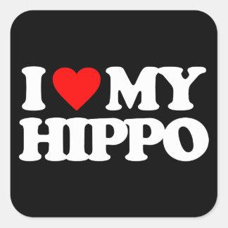 AMO MI HIPOPÓTAMO CALCOMANÍAS CUADRADAS PERSONALIZADAS