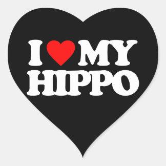 AMO MI HIPOPÓTAMO PEGATINA DE CORAZÓN