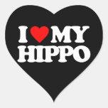 AMO MI HIPOPÓTAMO PEGATINA EN FORMA DE CORAZÓN