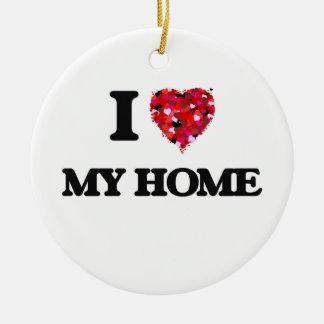 Amo mi hogar adorno redondo de cerámica