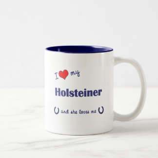 Amo mi Holsteiner (el caballo femenino) Taza De Dos Tonos