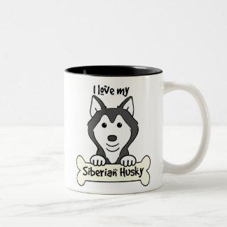 Amo mi husky siberiano taza de café de dos colores