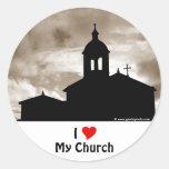 Amo mi iglesia etiquetas redondas