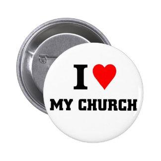 Amo mi iglesia pin redondo de 2 pulgadas