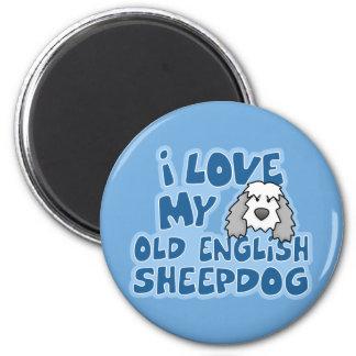 Amo mi imán inglés viejo del perro pastor