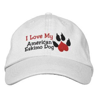 Amo mi impresión americana de la pata del perro gorra de beisbol bordada