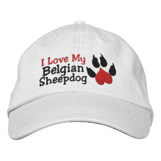 Amo mi impresión belga de la pata del perro pastor gorras de beisbol bordadas