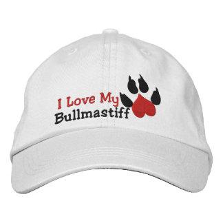 Amo mi impresión de la pata del perro de gorras de béisbol bordadas