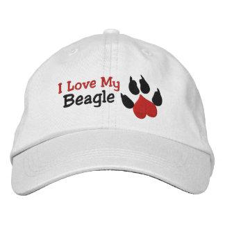 Amo mi impresión de la pata del perro del beagle gorra de beisbol bordada