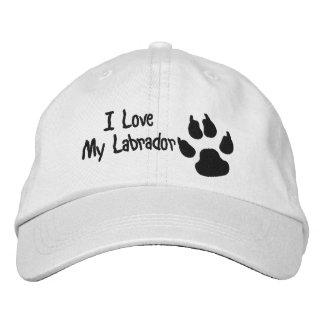 Amo mi impresión de la pata del perro gorra de beisbol