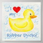 Amo mi impresión Ducky de goma del arte