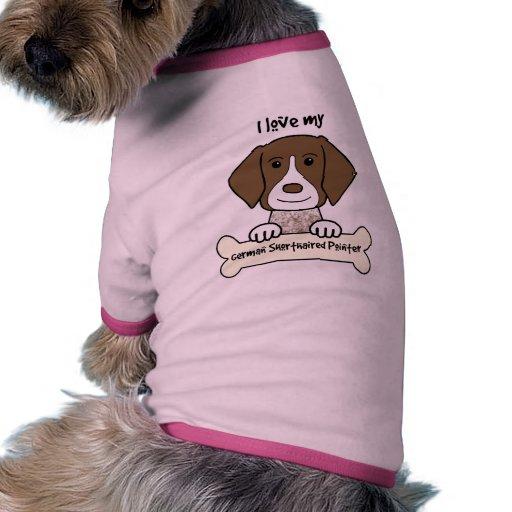 Amo mi indicador de pelo corto alemán camisetas mascota
