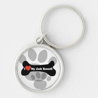 Amo mi Jack Russell - hueso de perro Llavero