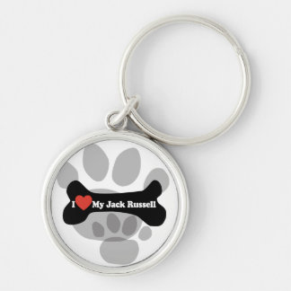 Amo mi Jack Russell - hueso de perro Llavero Redondo Plateado