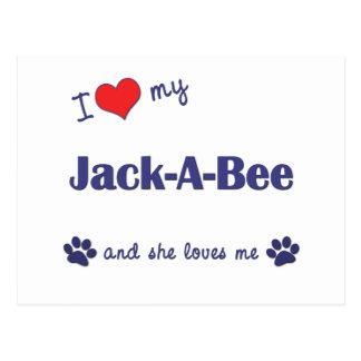 Amo mi Jack-UNO-Abeja (el perro femenino) Postal