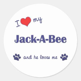 Amo mi Jack-UNO-Abeja (el perro masculino) Pegatina Redonda