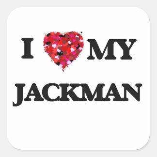 Amo MI Jackman Pegatina Cuadrada
