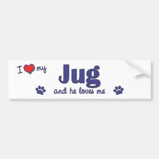 Amo mi jarro (el perro masculino) pegatina para auto