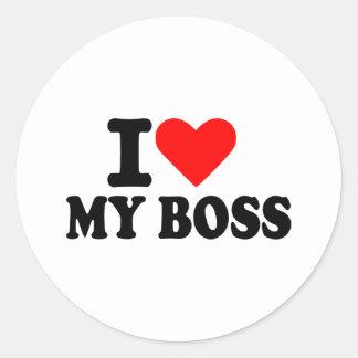 Amo mi jefe pegatina redonda